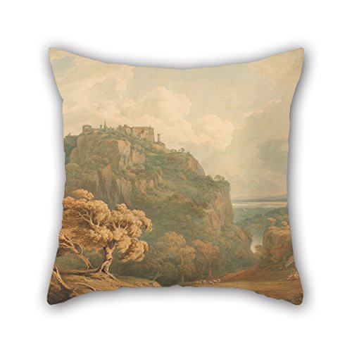 Throw Pillow Case Of Oil Painting John Warwick Smith - A View Of Tivoli Looking Towards Rome 16 X 16 Inches / 40 By 40 Cm Best Fit For Home (Wolf Needlepoint Kit)
