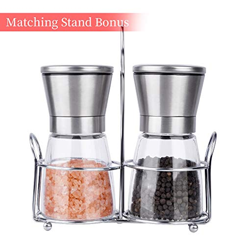 Premium Salt and Pepper Grinder set with Matching Stand.Adjustable and 100% Corrosion Resistant Ceramic Grinding Mechanism.Easy to Refill or Clean.(Notes: SALT OR PEPPER ARE NOT - Can Soda Grinder