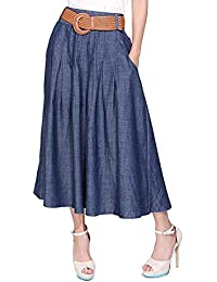 Women's Thin Blue Denim Cotton Midi Calf Pocket Fall Skirt with Belt