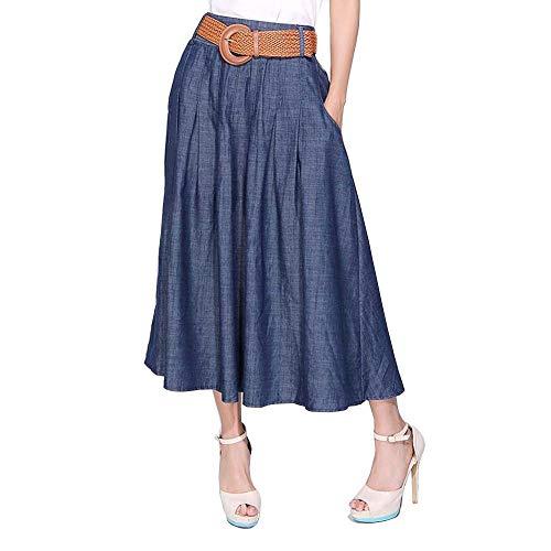 Kaachli Women's Thin Blue Denim Cotton Midi Calf Pocket Fall Skirt with Belt (2XL) ()
