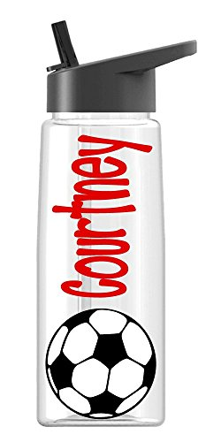 Personalized Drink ware Soccer design with name, BPA Free, vinyl design, by De La Design Gifts (26 oz Regular)