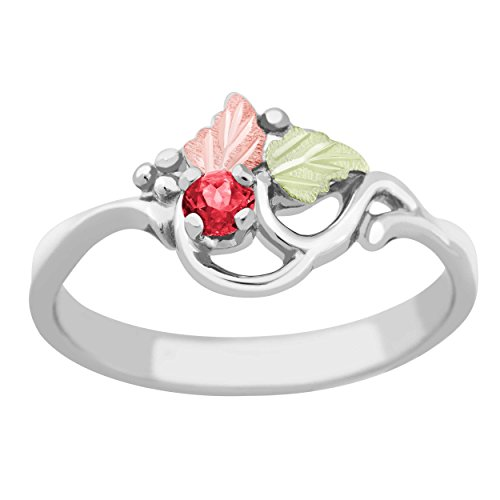 (Created Ruby July Birthstone Ring, Sterling Silver, 12k Green and Rose Gold Black Hills Gold Motif, Size)