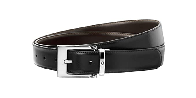 b8042a3a4f5 Image Unavailable. Image not available for. Color  Montblanc Mens  Contemporary Belt 30mm Black Brown 9774