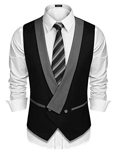 COOFANDY Mens Dress Vest Formal Business Waistcoat One Button Slim Fit Suit Vest by COOFANDY (Image #1)