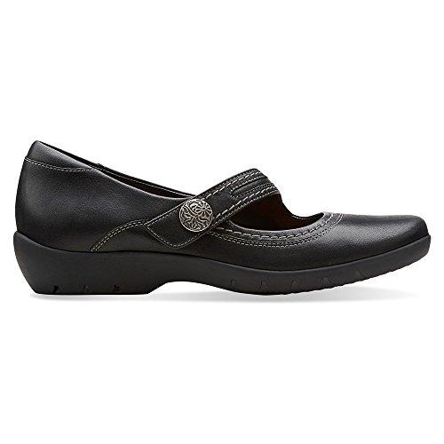 Clarks Ordell Becca Womens Black Leather Flat 9-MEDIUM