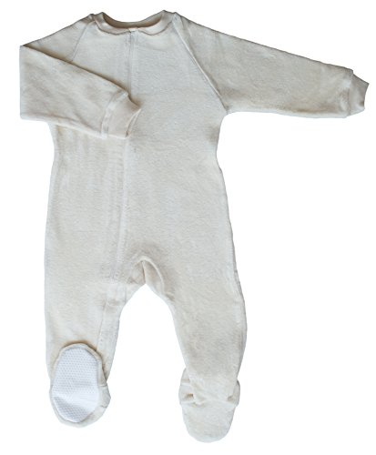 CastleWare Baby Organic Velour Footie Pajama-Medium-6 Years (X-Large 18-24 Mos, Natural) by CastleWare Baby