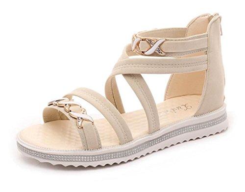 Kuro&Ardor Sandals For Woman Striped Low Heel Open Toe Flat Ankle Strap Rhinestone Back zip Pretty (8 US 25cm, Beige)