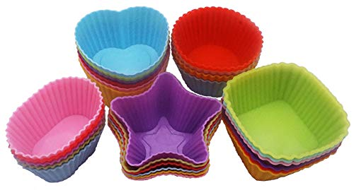 Mayhuire Baking Cups Silicone Nonstick Cupcake Liners Reusable Baking Pastry Molds,5 Shapes (Round,Heart,Stars,Square, Ellipse),30 Pieces
