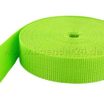 10m PP Gurtband - 20mm breit - 1, 4mm stark - limone (UV) BAENDER24