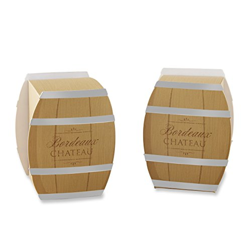 Kate Aspen Wine Barrel Favor Box (Set of 24), Brown/Silver (Wine Favors)