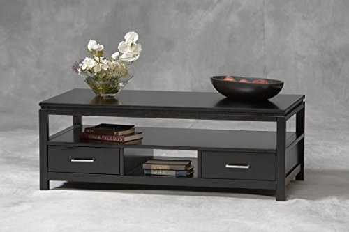 Sutton Coffee Table Shelves Storage - Tables Sofa Console End Set Living Room Office Wood Black - Sale! - Linon Living Room Coffee Table