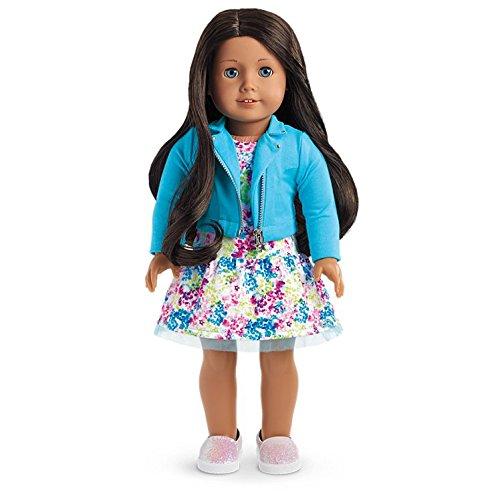 American Girl - 2017 Truly Me Doll: Medium Skin, Wavy Black-Brown Hair, Blue Eyes - Haired Brown Girl