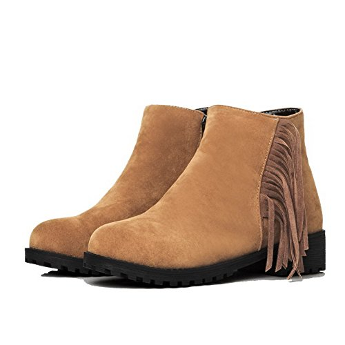 AllhqFashion Womens Solid Low Heels Round Closed Toe Imitated Suede Zipper Boots Brown nujBfkTuw