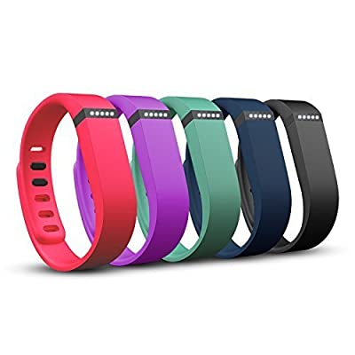Squeezit 5 Color Set for Fitbit Flex Only! Interchangeable Sports Wristbands Making Fitness Trackers Fashionable As Well As Any Sports Fan Bracelets or Armband; Set Has Navy Blue Black Purple Aqua & Red(Small/Large)