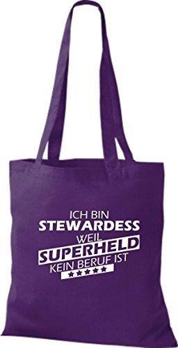 Shirtstown Stoffbeutel Ich bin Stewardess, weil Superheld kein Beruf ist lila