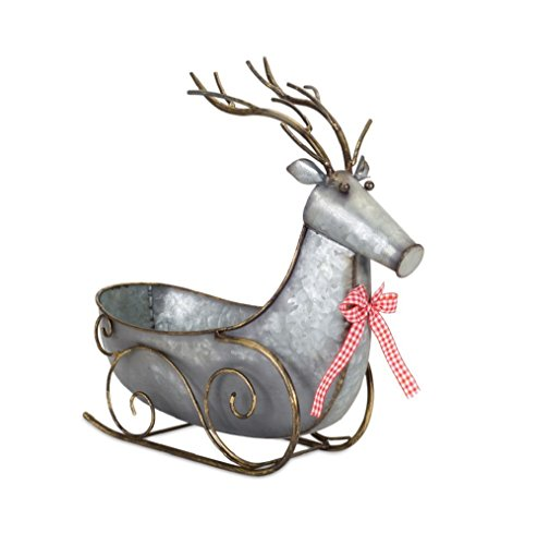 Melrose Deer Sleigh 15.5 Inches Length x 16.5 Inches Height Metal by Melrose