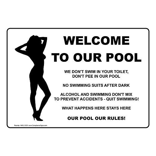 Aluminum Swimming Pool/Spa Sign, 10 x 7 in. with English Text, White from ComplianceSigns
