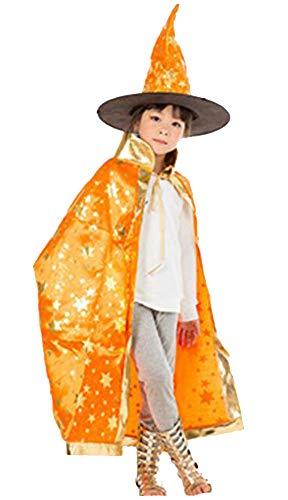 Cloak Length 82cm Children Suit Orange Star Pattern Cloak Wizard -