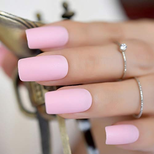 CoolNail Light Pink Matte False Nail Frosted Long Flat Shape Full Cover Fake Nail Art Acrylic Women Finger Extension Manicure Tools