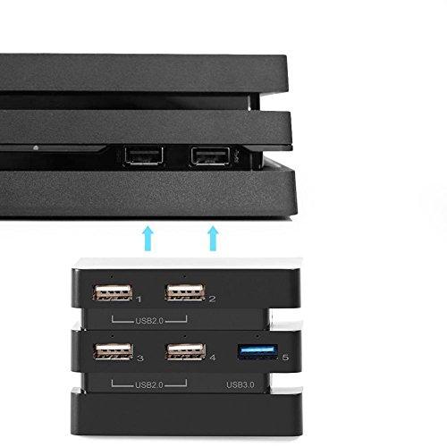Bewinner 5-Port USB Hub, 5 Port USB Hub for Playstation 4 Pro Console, 1 USB 3.0 and 4 USB 2.0 Port,Unique LED Indicators - Black