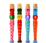 FriendGG Musical Toys,1PC Colorful Wooden Flute Toy Trumpet Buglet Hooter Hooter Bugle Puzzle Toy Wisdom Development Educational Game Toy Gift For 1-8 Years Old Kids Toy (Size:31.5*3.5cm, Flute / A-- Random color)