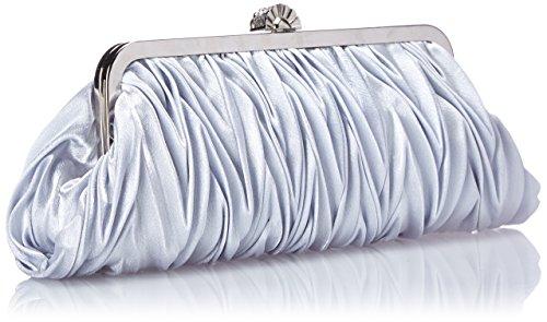 Bundle Monster Womens Vintage Satin Cocktail Party Handbag w/Shoulder Chain-SILVER