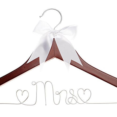 Ella Celebration Mrs Wedding Dress Hanger, Wood and Wire Hangers for Brides (Mahogany) by Ella Celebration