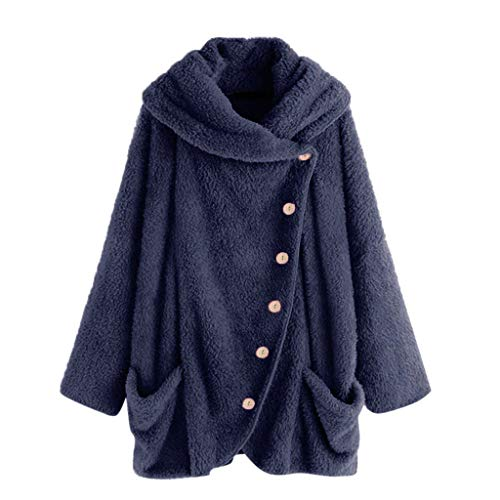 Price comparison product image HULKAY Womens Turtleneck Plush Coat, Upgrade Long Sleeve Button Cotton Jacket Warm Slim Cloak Outwear Boho Tops Plus Size(Dark Blue, L)