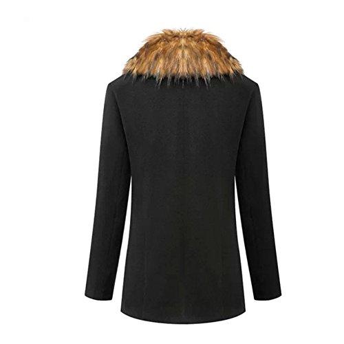... Wintermantel Damen mit Pelz, CRAVOG Mode Schwarz Lange Frauen Kaschmir  Wolle Warme Oberbekleidung Plus Winterjacke ... 14a5eac1a0
