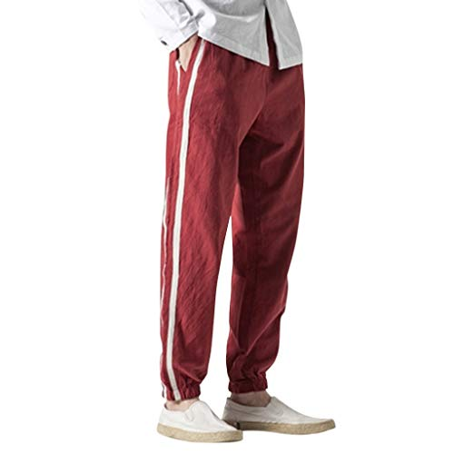 Aleola Men's Flax Retro Trousers Large Individualized Printed Trouser (Wine Red,XL)