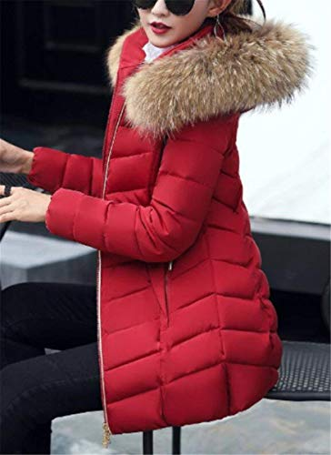 Cappuccio Monocromo Manica Elegante Di Laterali Vintage Donna Burgund Collo Confortevole Trapuntata Lunga Pelliccia Mantello Outerwear Invernali Cerniera Con Tasche Giaccone Giacca waY0n