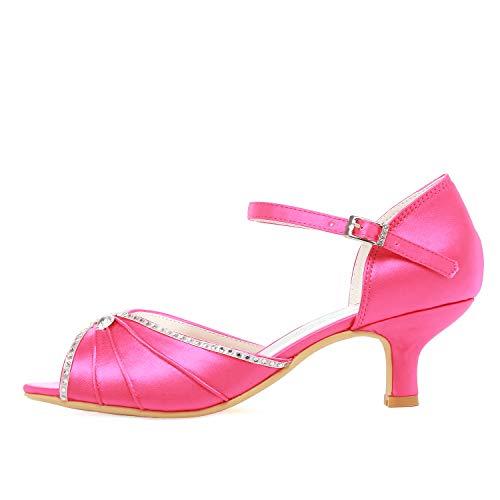 los Pink zapatos las HP1623 abrochan bajo ElegantPark novia de tacón Peep toes de satén Hot sandalias wSCIZ