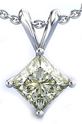 RINGJEWEL 2.08 ct VVS1 Silver Plated Princess Solitaire Real Moissanite Next To White Pendant
