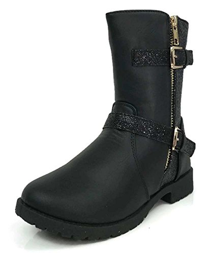 Osito Collection Girls Fashion Glitter Motorcyle Combat Boots