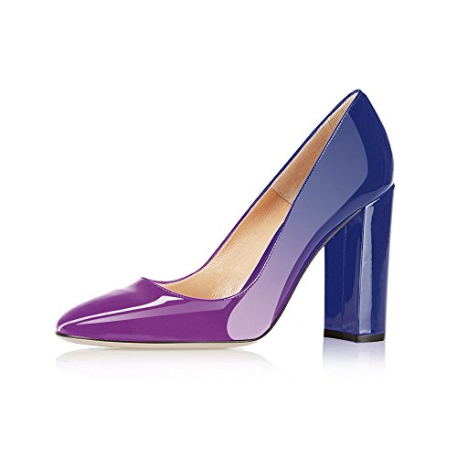 Modemoven Women's Purple Blue Sexy Patent Leather Round Toe Block Heels Pumps Gorgeous Evening Party Stiletto Shoes - 9 M - Pump Women Purple