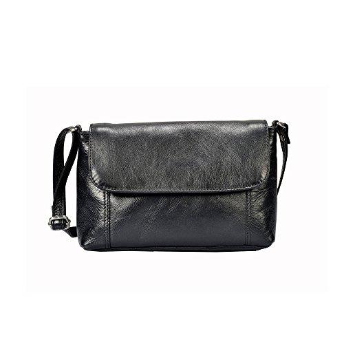 """Vilenca """"40599 Nero"""" Signore borsa a tracolla, borsa di cuoio per le donne, Dimensioni-L25cmxH15cmxB5cm"""