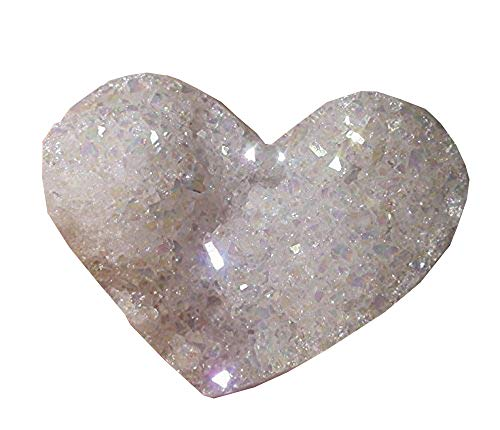 Aura Heart - Pounique Quartz Druzy Heart Crystal Cluster Natural Rock Angel Aura Rainbow Titanium Coated AB Stone Sparkling Gemmy Love Palm Specimen Decor Collection Gift 1pc C-4008
