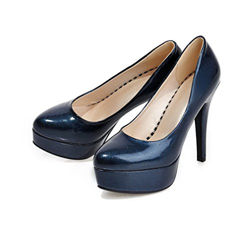 AllhqFashion Damen PU Leder Rein Ziehen auf Spitz Zehe Hoher Absatz Pumps Schuhe Blau