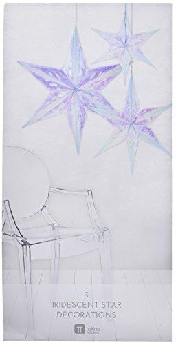 (Talking Tables Decadent Dec's Iridescent Hanging Star Decorations (3 Pack), Multicolor)
