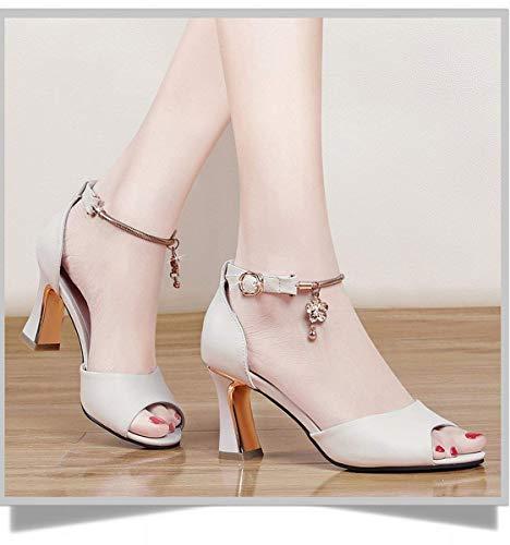 Talons coloré Beige Taille 37 Beige Hhgold Dames Sandales Chaussures Épaisses Femmes À Hauts 8zaBZqE