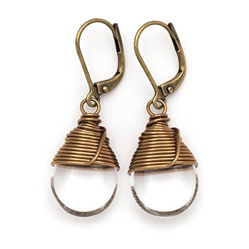 Clear Czech glass wire-wrapped drop bronze lever-back earrings -
