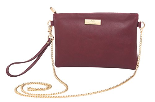 Body Chain Mini Dress - Aitbags Soft PU Leather Wristlet Clutch Crossbody Bag with Chain Strap Cell Phone Purse,Wine
