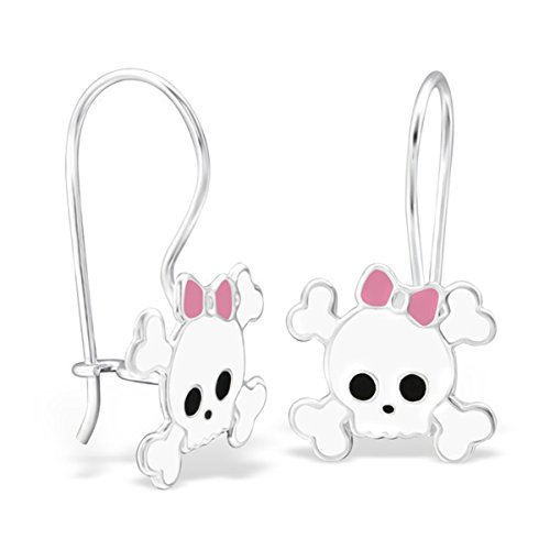 [Cute White Skull Crossbones with Bow Dangle Earrings 925 Stering Silver (E28662)] (Cute Gothic Girl Halloween Costumes)