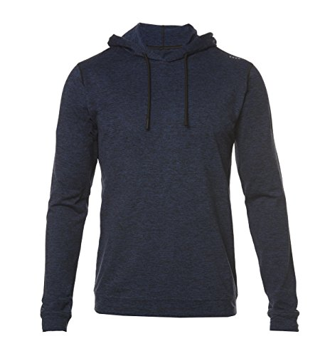 Navy Performance Hoody (SODO Men's Men's SLU Premium Performance Hoodie, Heather Navy/Black, Medium)