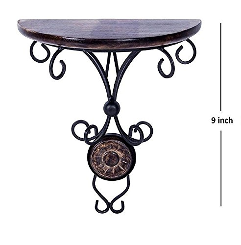 Vian Wooden & Iron Standard Size (9 Inch Height) Antique Inspired Wall Hanging Wood & Wrought Iron Fancy Wall Bracket for Home and Living Room Decoration. by Crafts'man