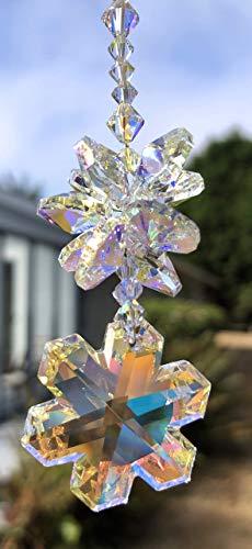 Snowflake Sun Catcher, Crystal Decoration, Christmas Ornament, Swarovski Crystals, Window Mobile, Tree Ornament, Rear View Mirror, 9096 -
