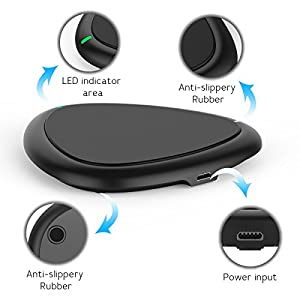 Wireless Charger,Yootech Wireless Charging Pad for iPhone X, iPhone 8/ 8 Plus [No AC Adapter]