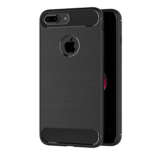 - Case for Apple iPhone 7 Plus/iPhone 8 Plus (5.5 inch) Soft Silicon Luxury Brushed with Texture Carbon Fiber Design Protection Cover (Black)