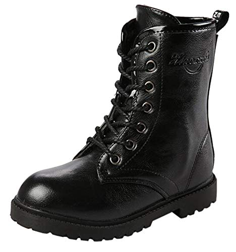 DADAWEN Boy's Girl's Waterproof Outdoor Combat Lace-Up Side Zipper Mid Calf Boots Black US Size 4 M Big - Black Fashionable Leather