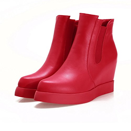 Leather Band Inside Imitated Platform A Elastic Heighten Boots Red amp;N Womens OwRqU86